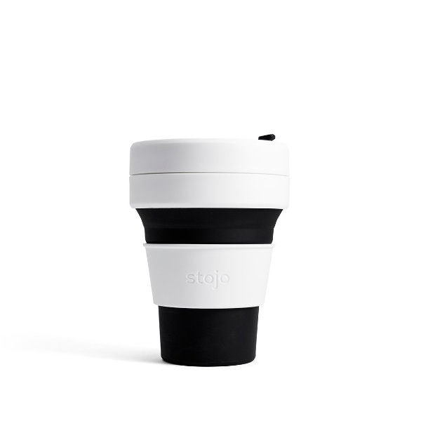 stojo Pocket Cup (black) - faltbarer Coffee to go Becher