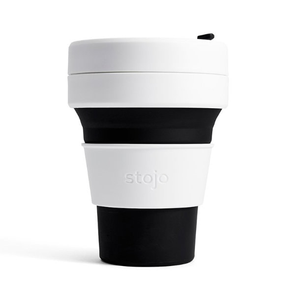 stojo Pocket Cup - der faltbare Coffee to go Becher (12oz) schwarz