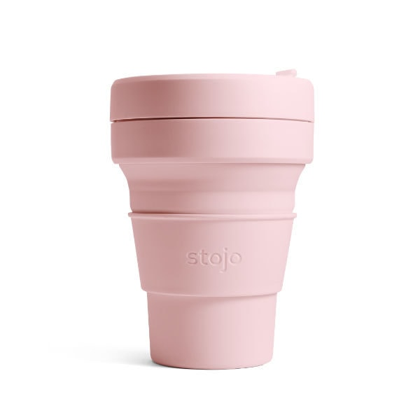stojo Pocket Cup - der faltbare Coffee to go Becher (12oz) - carnation / pink